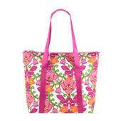 "Vera Bradley Cooler Tote in Lilli Bell SKU #12903142  | 19 ¼"" x 14 ¾"" x 6 ¾"" with 11"" strap drop     Matte laminate     Webbed shoulder straps     Zipper closure     Outside slip pocket     Wipeable vinyl lining  Care Tips Spot clean"