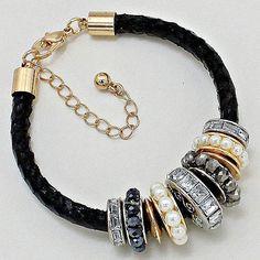 Braided Leather Bracelet with Eternity Pearl & Rhinestone Beads