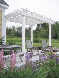 Machiasport house rental - Pergola on Deck Facing Water. Simple but sweet