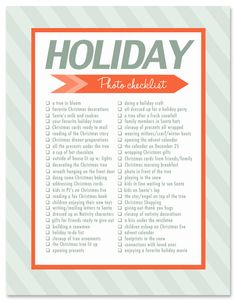 Holiday photo ideas + inspiration download this FREE holiday photo checklist filled with 50 photos to take this Christmas. This blog has GREAT tips on how to take photos too.