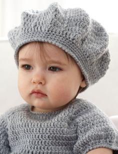 Crochet baby dress and hat pattern Free pattern Crochet Baby Clothes, Crochet Baby Hats, Crochet For Kids, Baby Knitting, Free Crochet, Knitted Hats, Free Knitting, Crochet Patron, Crochet Beret