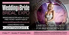 We're exhibiting at the Melbourne Wedding & Bride Bridal Expo. 7- 9 OCTOBER 2016 Melbourne Convention and Exhibition Centre.   We have LIMITED FREE TICKETS worth $25 to give away to brides! Register NOW for access to fantastic prizes and deals on offer!!   Go to www.weddingandbride.com.au and use our promo code 'LIGHTSNSIGHTS'.  www.weddingandbride.com.au