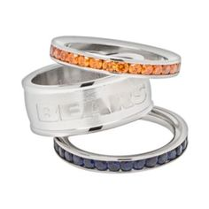 Chicago Bears Stainless Steel Crystal Stack Ring Set