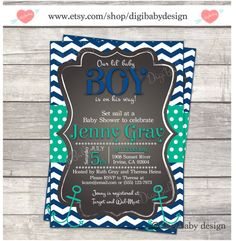 navy and mint Chalkboard Baby boy Shower invitation chevron by DigiBabyDesign, $15.00
