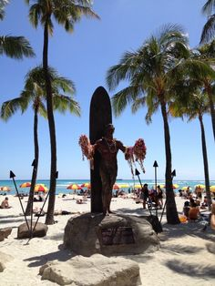 Duke Kahanamoku Statue - a Kalakaua Avenue icon. You can watch it on the live cam!