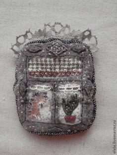 Броши ручной работы. Ярмарка Мастеров - ручная работа. Купить Брошь текстильная Окно с кактусом. Handmade. Авторская ручная работа