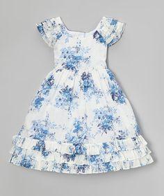 Blue & White Floral Angel-Sleeve Dress - Toddler & Girls #zulily #zulilyfinds