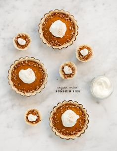 Mini Vegan Pumpkin Pies, these are too die for and perfect for portion control around the holidays!! {LoveandLemons.com}