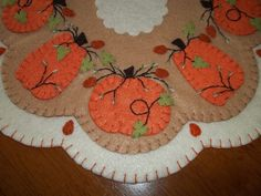 "Primitive Penny Rug ""Big Pumpkins"" Candle Mat w"