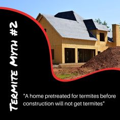 Check out our Termite Myths blog to learn the truth to this myth: www.goterminator.com/blog/debunking-termite-myths #TerminatorTPC #TermiteMyths #TermiteInfo Diy Termite Treatment, Termite Pest Control, Termite Inspection, Concrete Pad, Building A New Home, The Neighbourhood, The Incredibles, Construction, Blog