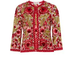 Naeem Khan Floral Embroidered Jacket ($7,990) ❤ liked on Polyvore featuring outerwear, jackets, red jacket, cropped jacket, naeem khan, 3/4 sleeve jacket and red cropped jacket