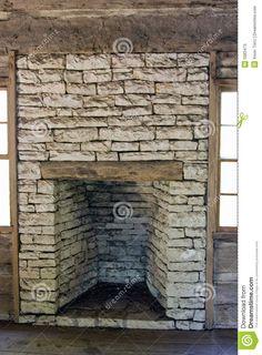 antique log cabin fireplace   Wood Burning Stone Fireplace, Old ...