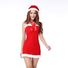 Women Sexy Christmas Festival Cosplay Costumes CosPlay dress +Christmas Hat Corduroy Halloween Uniform Adult Role Playing Santa