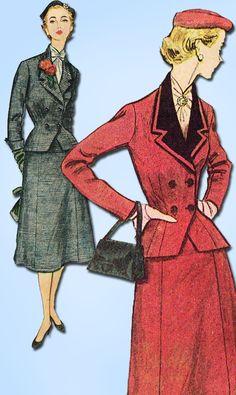 1950s Vintage Simplicity Sewing Pattern 4020 FF Misses Peplum Suit Size 14 32B