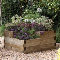 TIMBER WOODEN THREE TIERED RAISED GARDEN / PATIO PLANT BED | eBay