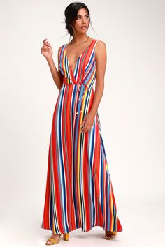 df9464d1133 Elianna Rainbow Stripe Backless Maxi Dress