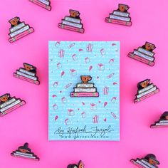 Books and Tea Hand Lettered Enamel Pin by IceyDesigns on Etsy