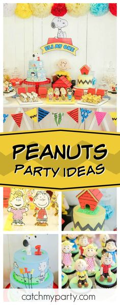Don't miss this cool Peanuts themed birthday party! The birthday cakes are so much fun!! See more party ideas and share yours at CatchMyParty.com