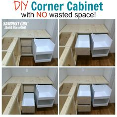 Build a corner cabinet with NO wasted space! Tutorial from https://sawdustgirl.com.