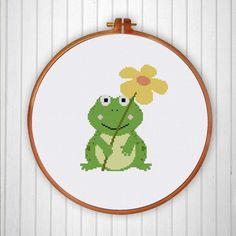 baby frog cross stitch pattern cross stitch kit by ritacuna