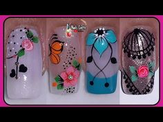 4 modelos de decoración de uñas/diseños de uñas variados y bonitos/tutoriales de decoración de uñas - YouTube Prom Nails, Bling Nails, Dope Nails, Fun Nails, Purple And Pink Nails, Diy Resin Crystals, Merry Christmas Gif, Natural Acrylic Nails, Special Nails