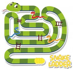 Snake ladder game template vector image on VectorStock Kids Background, Cartoon Background, Snakes And Ladders Template, Board Game Template, Baby Shower Templates, Child Smile, Camping With Kids, Cartoon Kids, Game Design