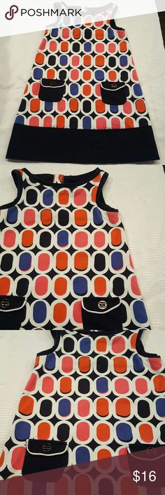 SALE🔴Preloved Girls Gap Shift Tank Dress sz 5 So cute, so retro! Cotton tank dress with front pockets. Great shades of navy, blue, orange, white and pink.  Small little mark on pink (pic 4). Barely noticeable. Soft cotton. Smoke free, pet free home. GAP Dresses