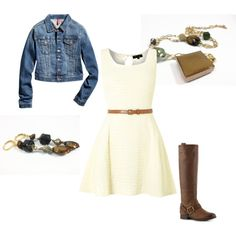"""Sands of Time Fall Outfit"" by WiReD Boutique on Polyvore Play down work attire with jean jacket and cute boots.  Yes!"