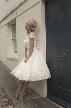 Sarah by Mooshki Bridal. Gorgeous all over lace tea length wedding dress.