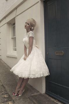 Sarah by Mooshki Bridal. Gorgeous all over lace tea length wedding dress - beautiful. x