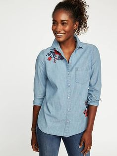 Classic Embroidered Chambray Shirt for Women