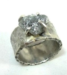 *Stone should be as big or bigger than the band* Rough Raw Diamond  Rough Silver