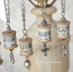 beatiful DiY necklace you will need: beads chain metal hoops musical note paper or pretty patterned paper wooden thread reel