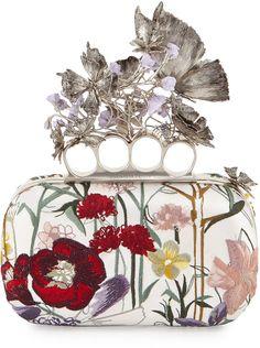 Alexander McQueen Flower-Embroidered Knuckle Box Clutch Bag, White Multi