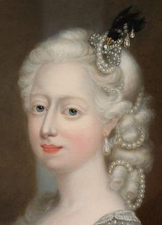 Regilla ⚜ Detail of a portrait of Augusta of Great Britain, Duchess of Brunswick
