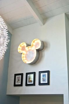 Mickey Marquee light....made by us!  So cool to find this on Pinterest!