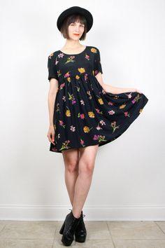 Vintage 90s Dress Babydoll Dress Mini Dress by ShopTwitchVintage #vintage #etsy #90s #1990s #babydoll #mini #dress #floral #grunge #softgrunge