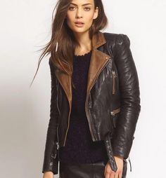 Sexy black leather jackets for women