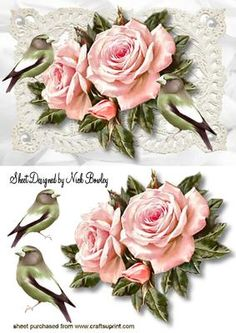 PINK ROSES ON VINTAGE LACE WITH BIRDS on Craftsuprint - Add To Basket!