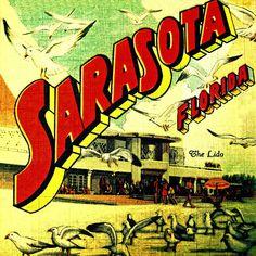 SARASOTA art photo retro vintage Florida beach home decor print coastal living summer. Sarasota Beach, Sarasota Florida, Florida Beaches, Lido Beach, Vintage Florida, Old Florida, Florida Travel, Travel Usa, Beach Wall Art