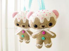 Felt Gingerbread Cookie Bear Ornament Door Hanger by junkoseven, $15.00