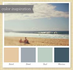 I like these dusty blues with the sand color. Very relaxing.