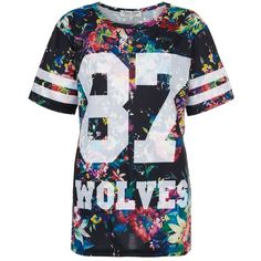 Parisian Black Floral Print Wolves 87 Baseball T-Shirt ($8.82) ❤ liked on Polyvore featuring tops, t-shirts, shirts, blusas, t shirt, sports shirts, baseball tee shirts, short sleeve t shirts and sports t shirts