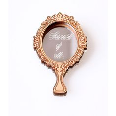 3066479b29a ... pin features an enchanted hand held mirror with cursive font that  reads