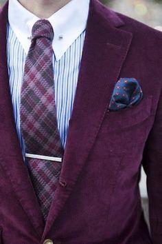 menshealthstyle:    Burgundy is big this fall.  gentleman-forever:    Velvet blazer  facebook.com/GentlemanF