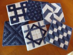 Needlepoint coasters two shades of blue and by KathysBestStuff, $12.00