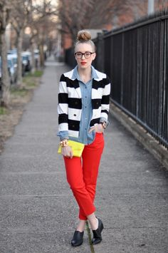 colored red pants