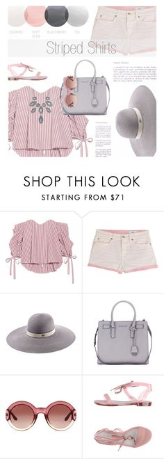 """Striped Shirt"" by kearalachelle ❤ liked on Polyvore featuring Caroline Constas, Closed, Maison Michel, MICHAEL Michael Kors, Gucci, Melissa, ALDO and stripedshirt"