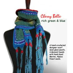 A hand-crocheted designer scarf with sewn glass pearls and iridescent beads by Cherry Belle Love Crochet, Hand Crochet, Knit Crochet, Designer Scarves, Crochet Fashion, Crochet Accessories, Crochet Scarves, Fiber Art, Iridescent