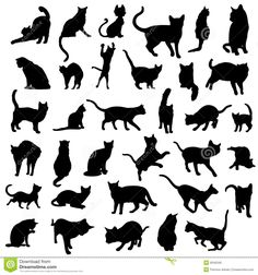 Illustration about Big collection of vector isolated cats silhouette. Illustration of single, silhouette, shape - 9345340 Silhouette Images, Animal Silhouette, Silhouette Vector, Black Cat Tattoos, Small Tattoos, Tattoo Minimaliste, Cat Vector, Cat Quilt, Illustration